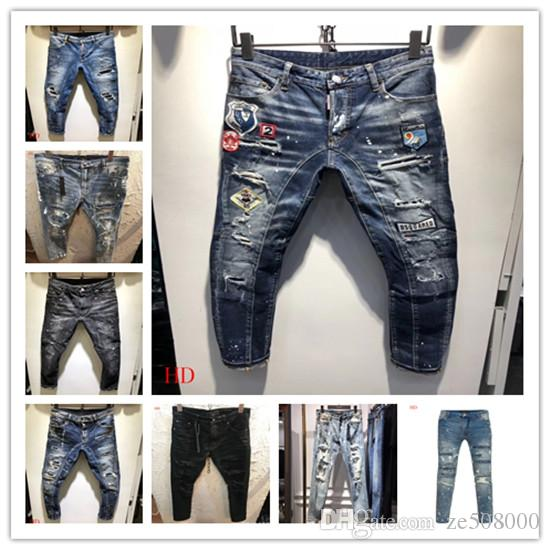16b8bc9a058 Купить Оптом Модные Мужские Обтягивающие Джинсы С Эластичными Отверстиями