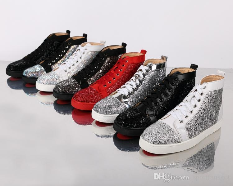 Designs Fashion Rhinestone Spike Dress Shoes Red Bottom Sneaker Luxury Party Wedding Shoes Genuine Leather Spikes Lace-up Casual Shoes