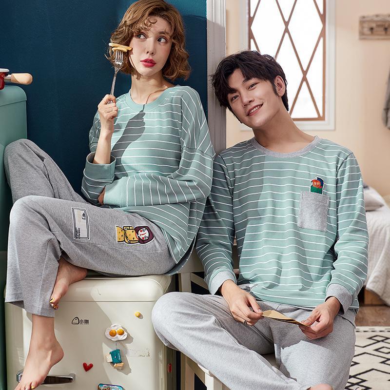 e80142f2d220 2019 New Men And Women Christmas Pajamas Cotton Pyjamas Leisure Home Suits  Couple Nightgowns Pijama Cute Matching Couples Pajamas From Jiguan