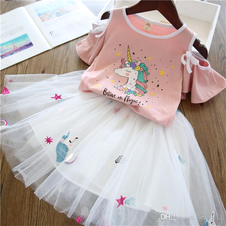 d05ef0a5 2 colors unicorn Girls clothes Unicorn printed Short Sleeve T-Shirt+Tutu  Dress 2Pcs kids clothes set kids designer clothes girls DHL JY304