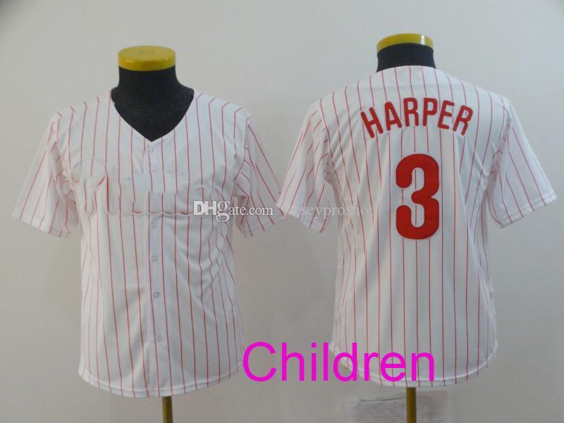newest 76bd3 3c087 Wholesale 7style Phillies 3 Bryce Harper Jersey Philadelpha Blue white  Cream Red Grey Flexbase Cool Base baseball Jerseys Kid jersey