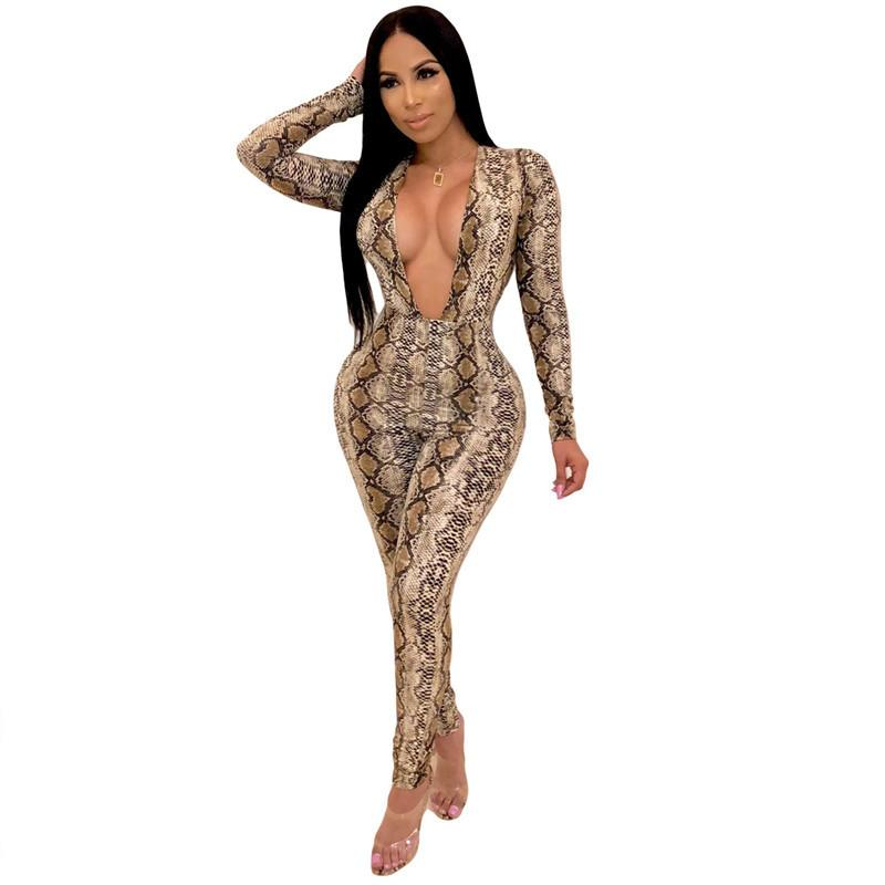 ffd0e2b69ca 2019 Deep V Neck Snake Print Sexy Jumpsuit Women Long Sleeve Skinny Full  Bodysuits Long Pants Bandage Bodycon Rompers Womens Jumpsuit From  Cutelove66