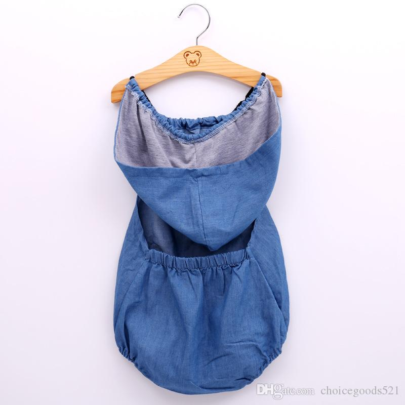 6cb7fdfaa0b5 2019 Baby Girl Clothing Romper Summer Newborn Hat Romper Design Sleeveless Denim  Romper Clothes Blue Color 6 P From Choicegoods521