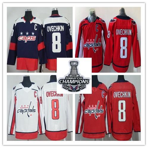 bf89eb4c6 2019 2018 Stanley Cup Champions Jerseys Washington Capitals 8 Alex Ovechkin  77 T.J. Oshie Ice Hockey Navy White Red Stitched Jersey From Cbssport, ...