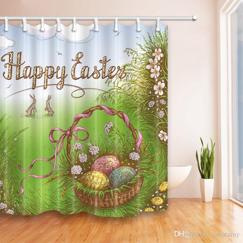 180*180cm Baby Happy Easter 3D Bathroom Shower Bunny Curtains Home Rabbit Decoration For Easter Gift Window Treatments