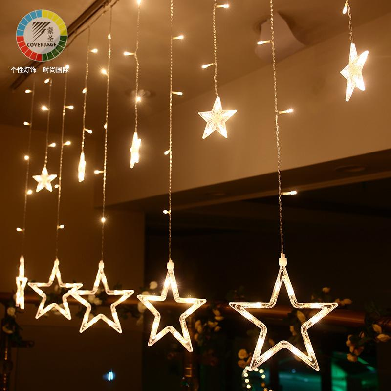 Fiery Sale Led Christmas Festival Coloured Lights Shop Originality Decoration Stars Lamp Five Pointed Star Window Curtains Lamp