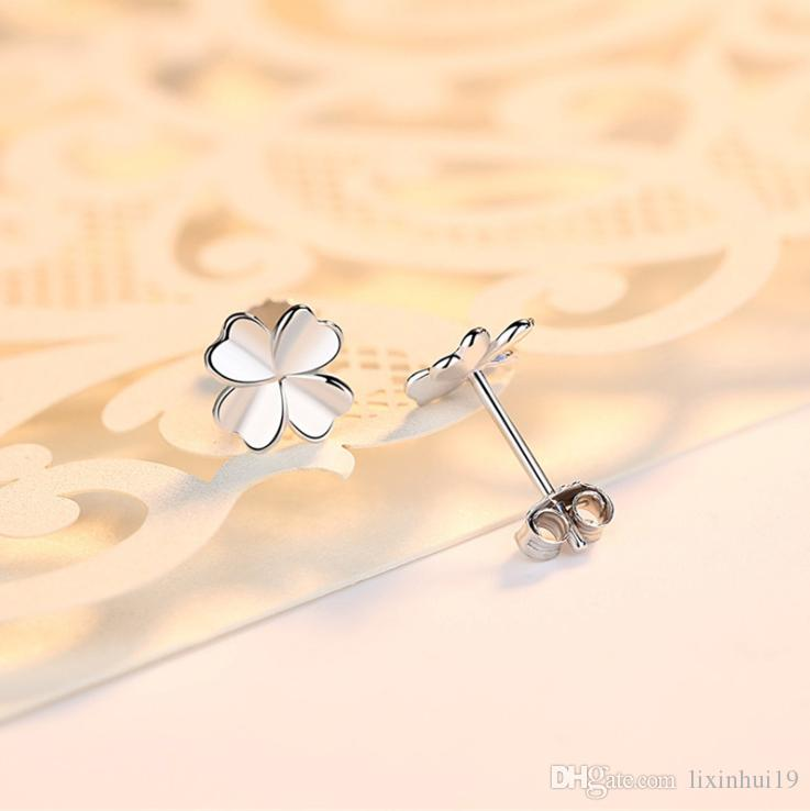 S999 pure silver silver polished silver four-leaf clover ear stud female Korean version temperament anti-allergy simple small earring earrin