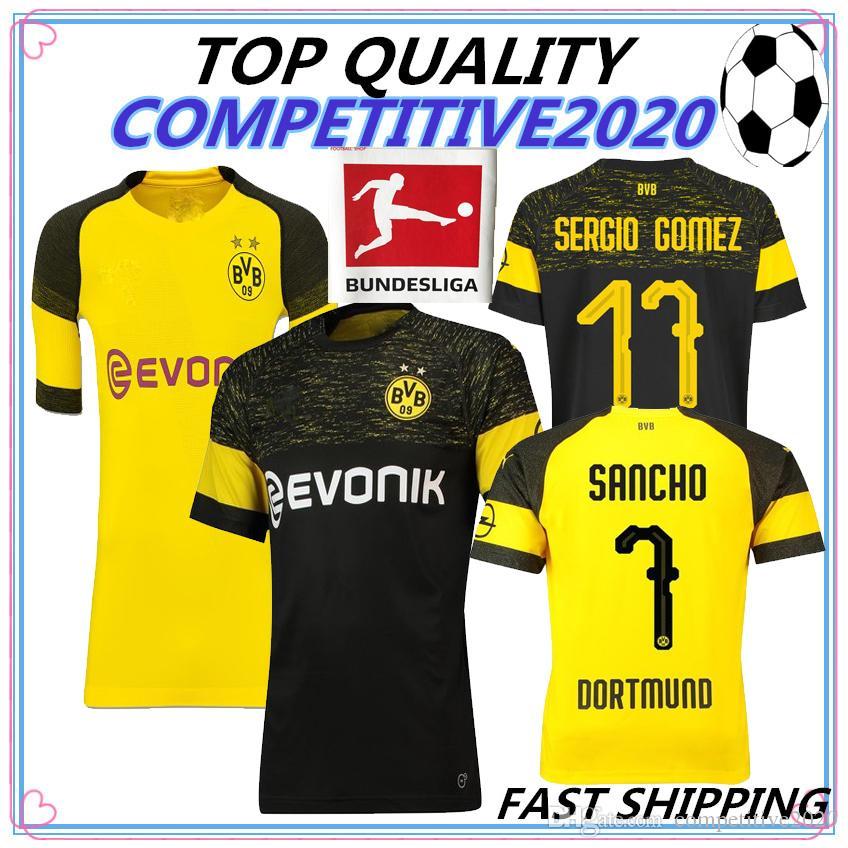18 19 Calidad De Tailandia BVB Borussia Dortmund Soccer Jersey 2018 2019  PHILIPP GOTZE REUS PULISIC WITSEL JerseyS PACO ALCACER Camiseta De Fútbol  Por ... 169a6032332