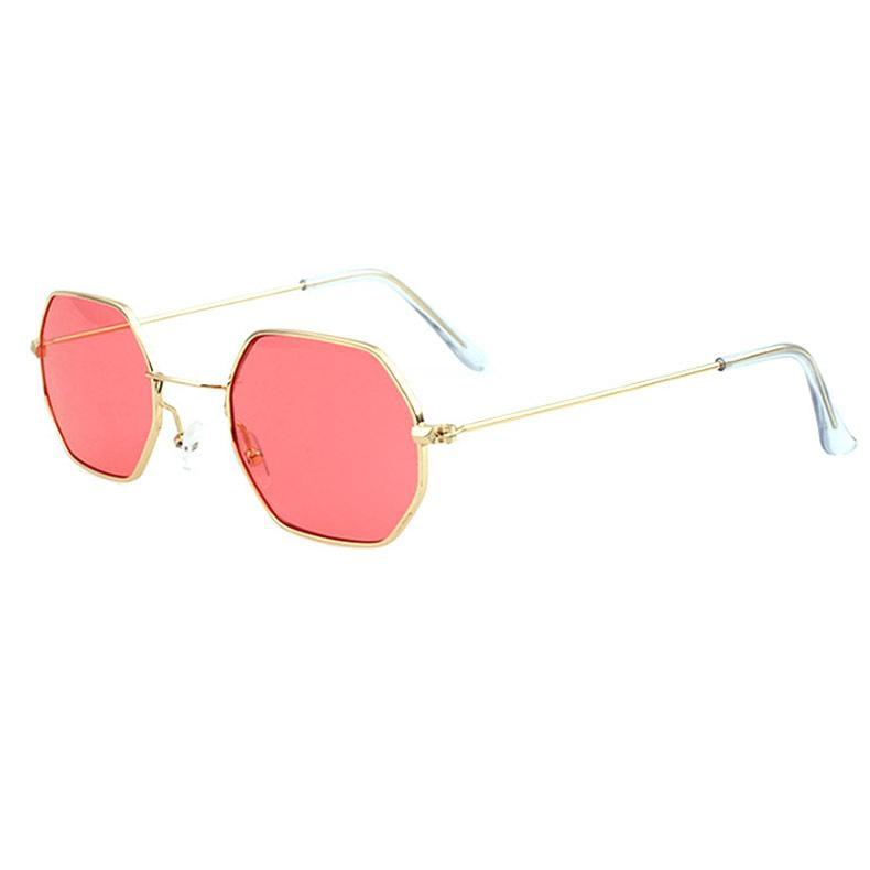 4195a1cc1a0 ATB01 Hexagon Sunglasses Brand Designer Glasses Gold Frame Hipper Metal  Frame Transparent Temple End BOTERN EYEWEAR
