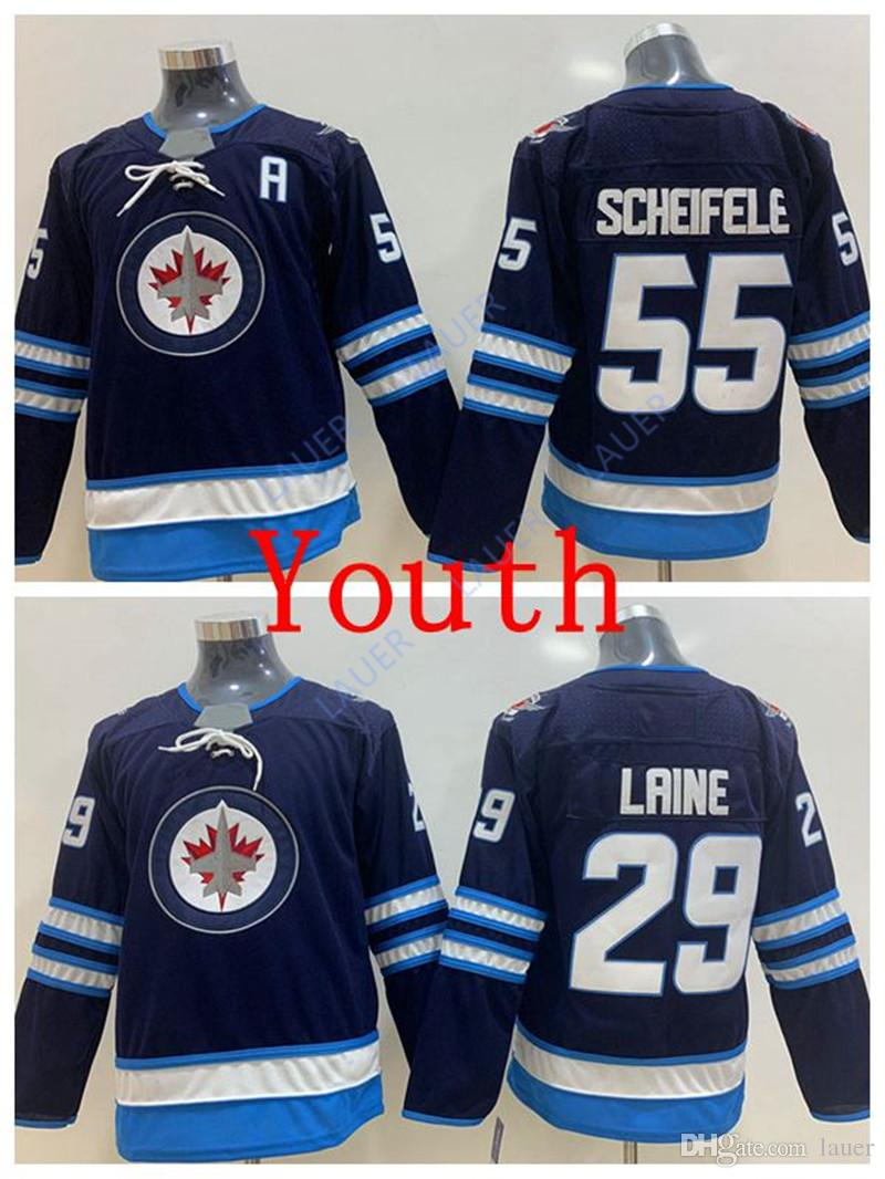new styles dc7c0 fd02c Youth New York Ice Jets Jersey 29 Patrik Laine 55 Mark Scheifele Stitched  Hockey Jerseys Kid