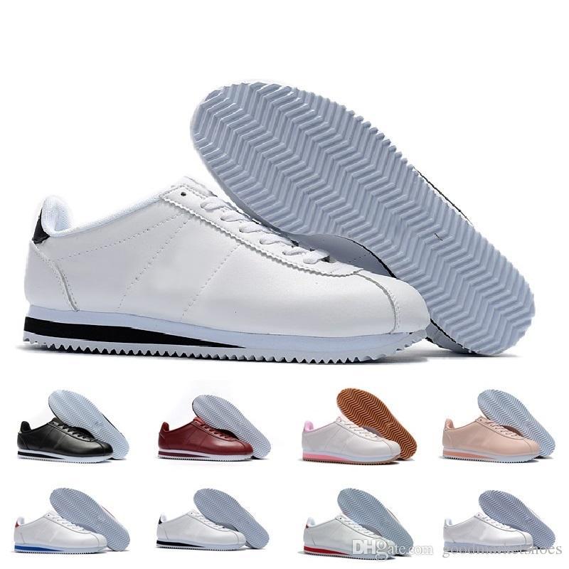 e76f0deb746 Compre Classic Cortez NYLON Classic Cortez Basic Leather Casual Shoes Cheap  Fashion Hombres Mujeres Negro Blanco Rojo Golden Skateboarding Sneakers  Tamaño ...