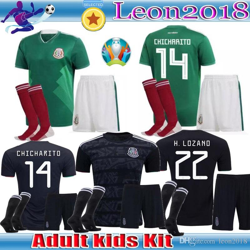 54d12a96e 2019 Adult Kids Kits 2019 Gold Cup Mexico Soccer Jersey Home Black 19 20  CHICHARITO H. LOZANO Youth Child Football Jerseys Set Shirts From Leon2018
