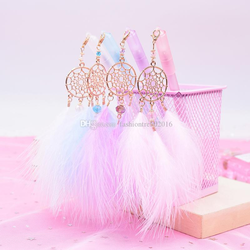 Gel Pen with Kawaii Dreamcatcher Feather Pendant Neutral Pens for School Gift Writing Office Supplies