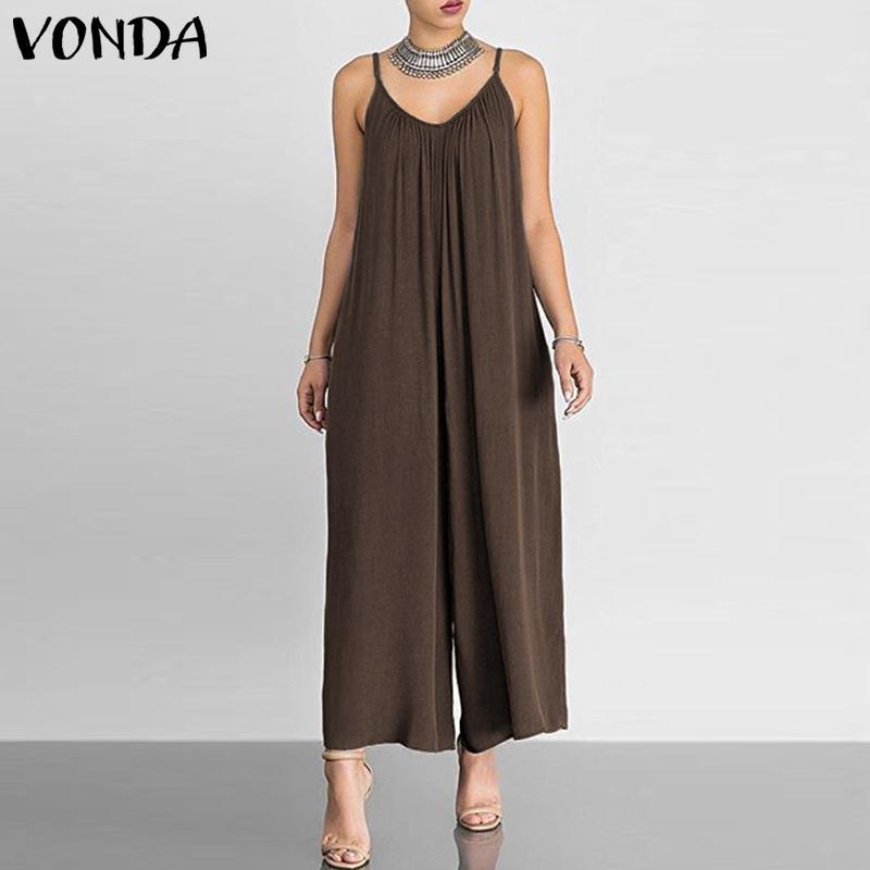 bedc28e9f5 VONDA Sexy V Neck Sleeveless Wide Leg Pants 2019 Rompers Womens ...