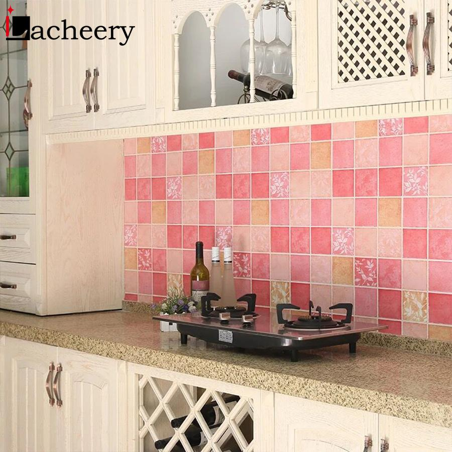 Kitchen Stove Backsplash Mosaic Tiles Wall Stickers Self Adhesive Wallpaper Roll PVC Waterproof Bathroom Home Decor Decals