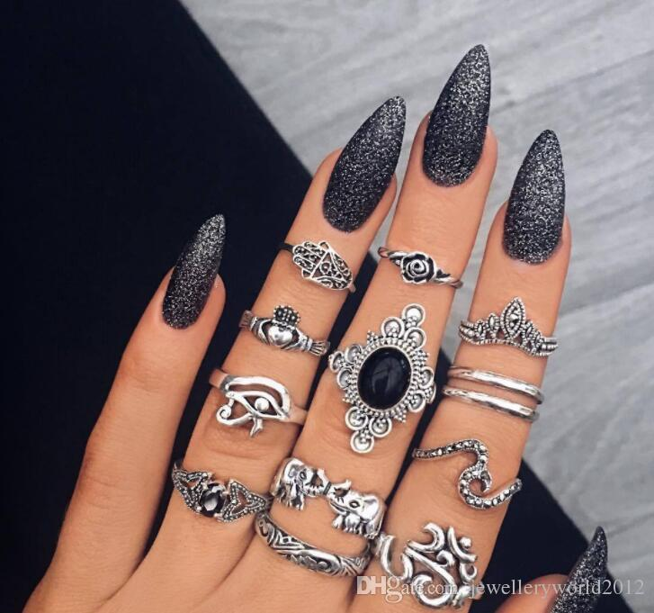 Europe fashion new arrival female restore ancient ways ancient silver palm carve patterns elephant black gem joint ring combination set 3set
