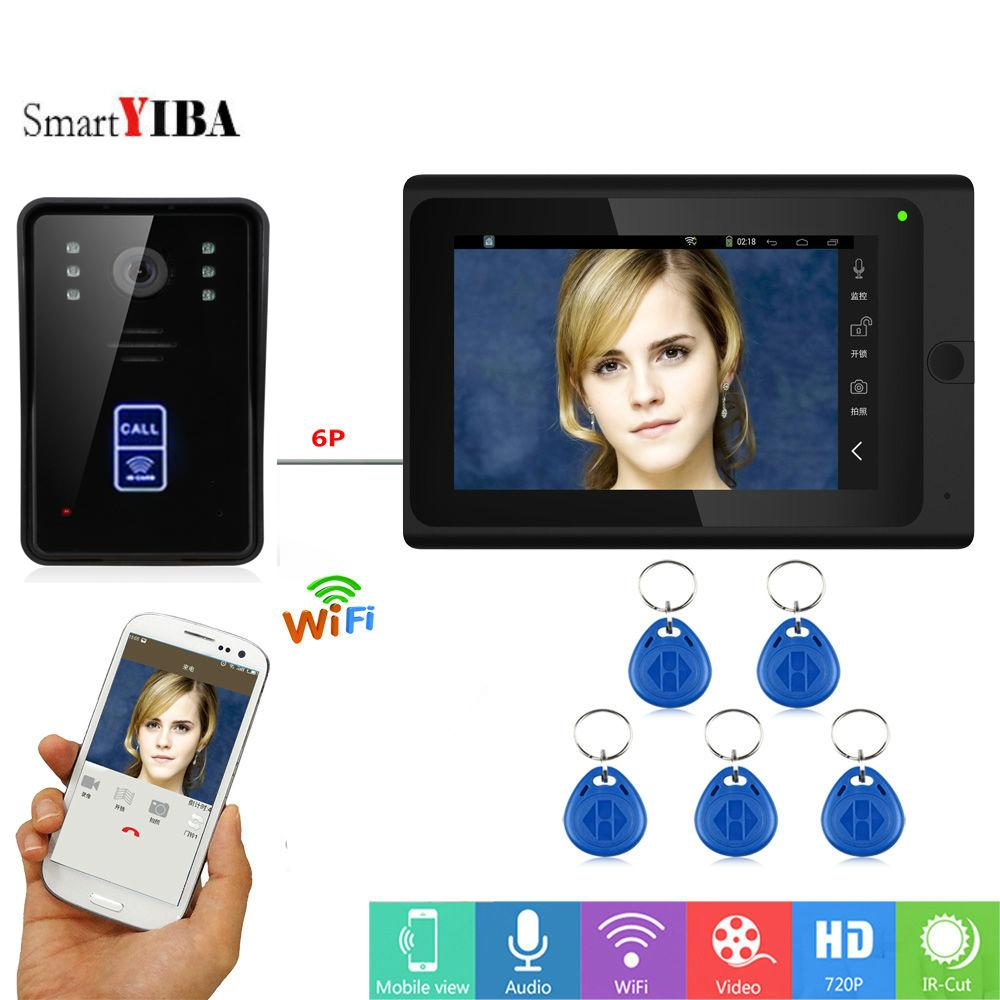 SmartYIBA RFID Video Intercom 7 Inch Monitor Wifi Wireless Door Phone Doorbell Speakephone System Android IOS APP Lock