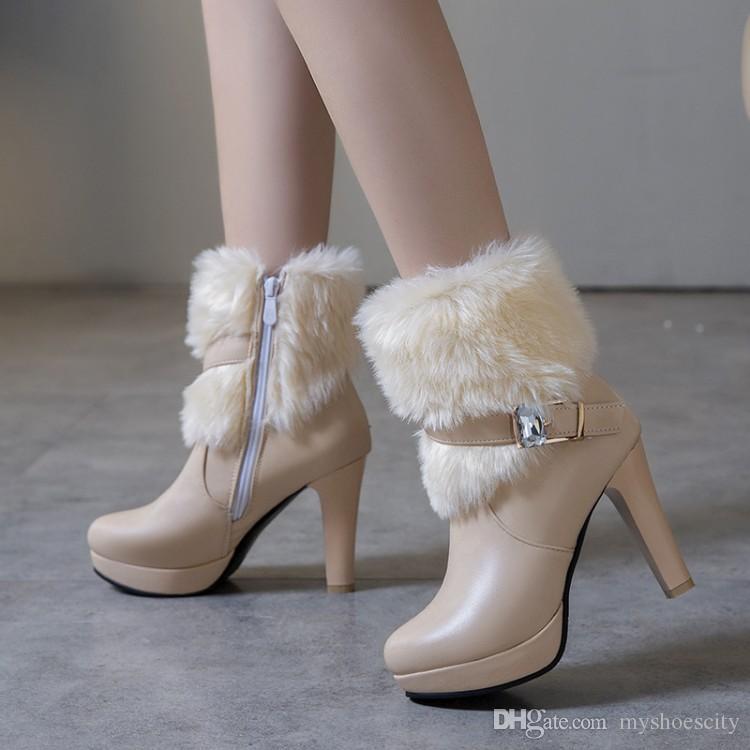 Büyük küçük boyutlu 32 33 34 41 42 43 beyaz kürk botları sıcak kış gelinlik ayakkabı tutmak bej siyah 40