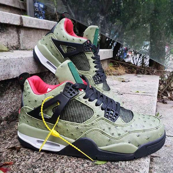 174e12638cf4 2019 2019 New Arrival Jumpman 4 4s Ostrich Pattern Basketball Shoes For Men  High Quality Mens Green Trainers Sports Sneakers Size 40 47 From Weile