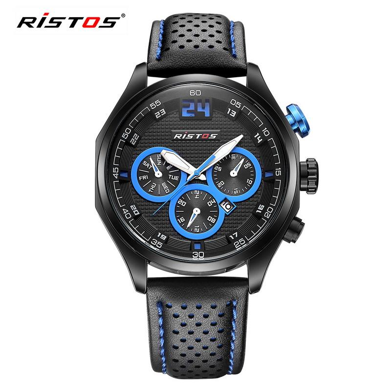 5816aafe6aaf Compre RISTOS Marca Relojes Deportivos Hombres Cuarzo Fecha Reloj Hombre  Correa De Cuero Casual Reloj Hombres Relogio Masculino Reloj Hombre 93013 A   46.35 ...