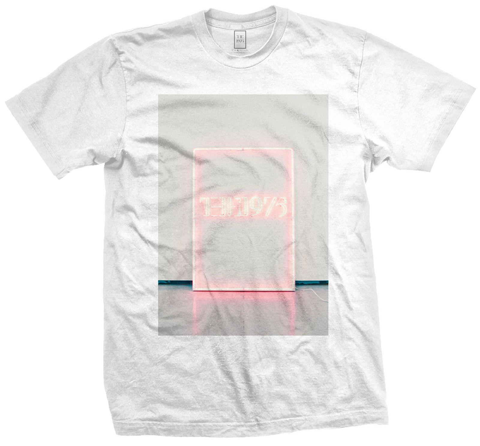 388168135 The 1975 Neon Sign T Shirt White Official Mens Unisex Rock Music Band Merch  Tee High Quality Custom Printed Short Sleeve Tops Tee The Following T Shirts  ...