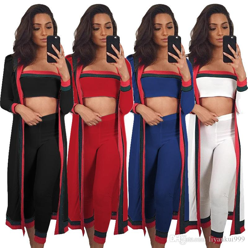 Striped 3 Piece Set Women Full Sexy Sleeve Long Outwear 2 Piece Mini Strapless and Pants Overall Set Plus Size Spring Clothing S-3XL