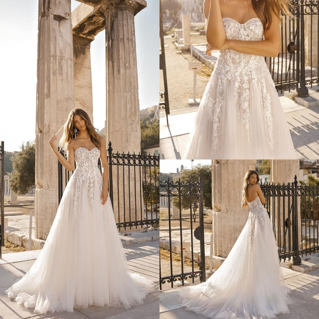 e78ff6b20fb Discount Berta 2019 A Line Beach Wedding Dresses Sweetheart Lace Appliqued  Bridal Gowns Sweep Train Tulle Boho Casual Wedding Dress Wedding Outfits A  Line ...