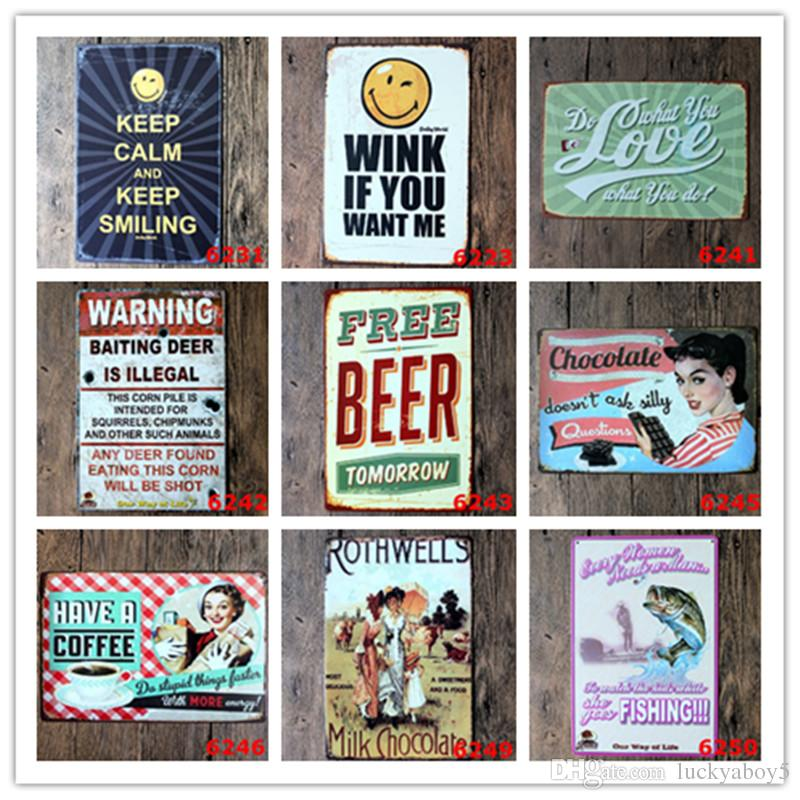 Love Warning Beer Calm Smile Chocolate Coffee Retro Tin Sign Bar Home Gas  Station Pub Cafe Hotel Living Room Bakery Decor Wall Art Poster