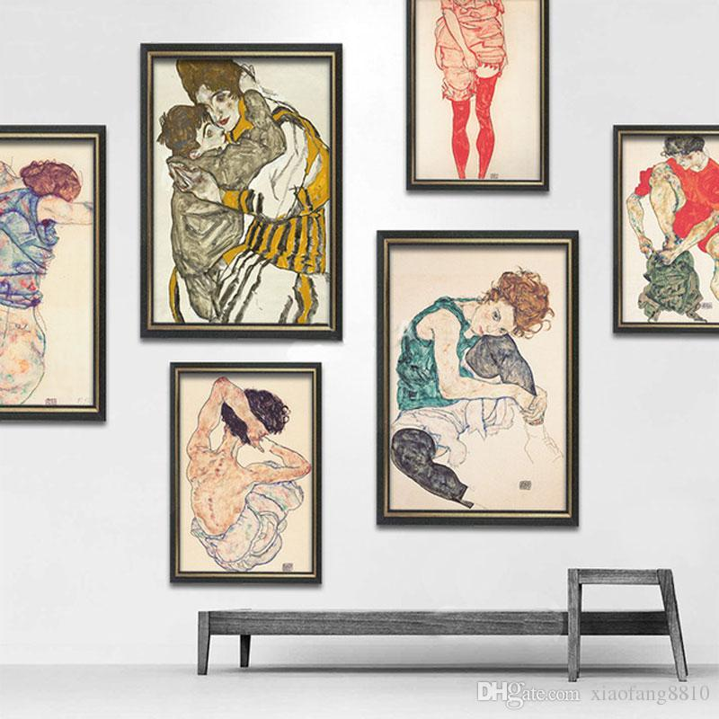 Egon Schiele Abstact Body Color Delineation Sketch Canvas Art Print Painting Poster Wall Picture For Living Room Home Décor