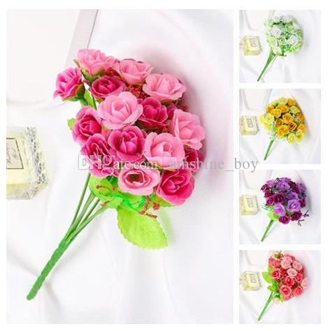 2019 Hot sale simulation Green plant rose flower bouquet wedding arrangement Home Furnishing decoration Photograph props
