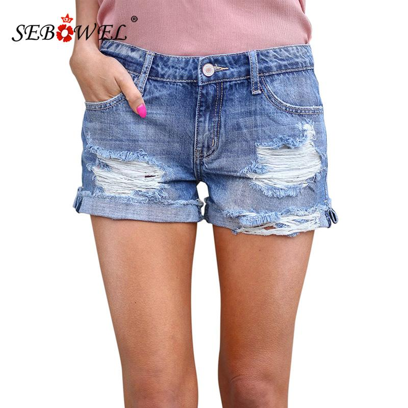 66fdf79fde 2019 SEBOWEL 2019 Sexy Summer High Waisted Distressed Denim Hot Shorts  Women Light Blue Ripped Vintage Denim Shorts Jeans From Feiyancao, $26.88 |  DHgate.