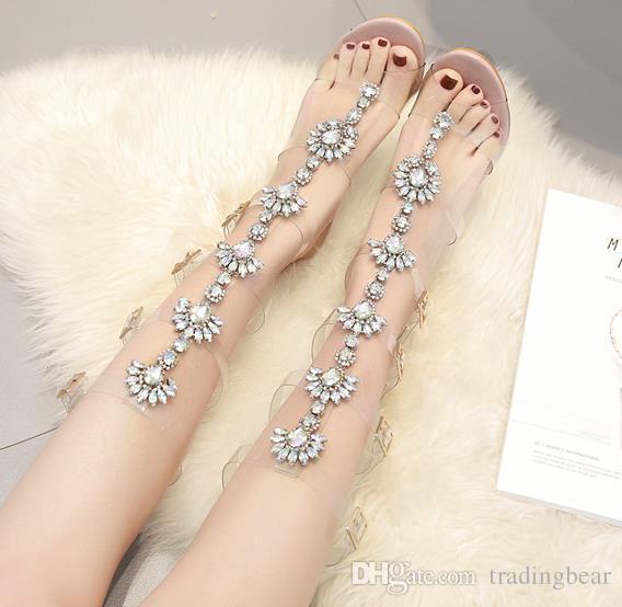 Plus size 35 to 40 41 42 Luxury rhinestone sandals nude PVC transparent T strap ankle wrap high heels women designer sandals