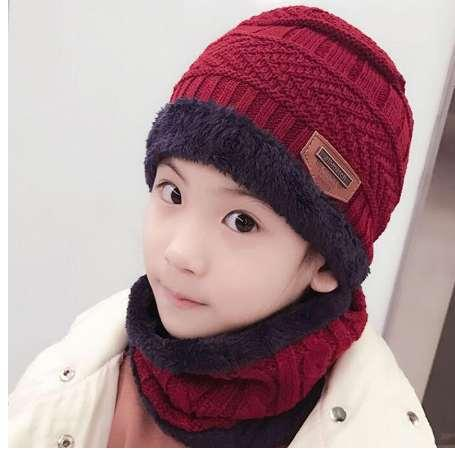 848b9b1f8ee84 SUOGRY Children Winter Hat And Scarf Set for Boys Girls Knitted Cap ...