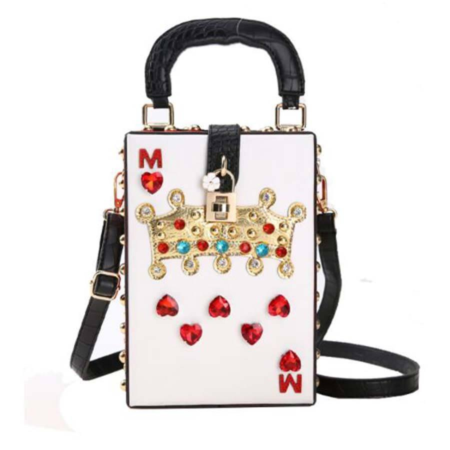 Fashion Diamond Crown Flower Box Style Party Bag For Women Buckle Pu Leather Ladies Shoulder Bag Mini Messenger Bag Pouch