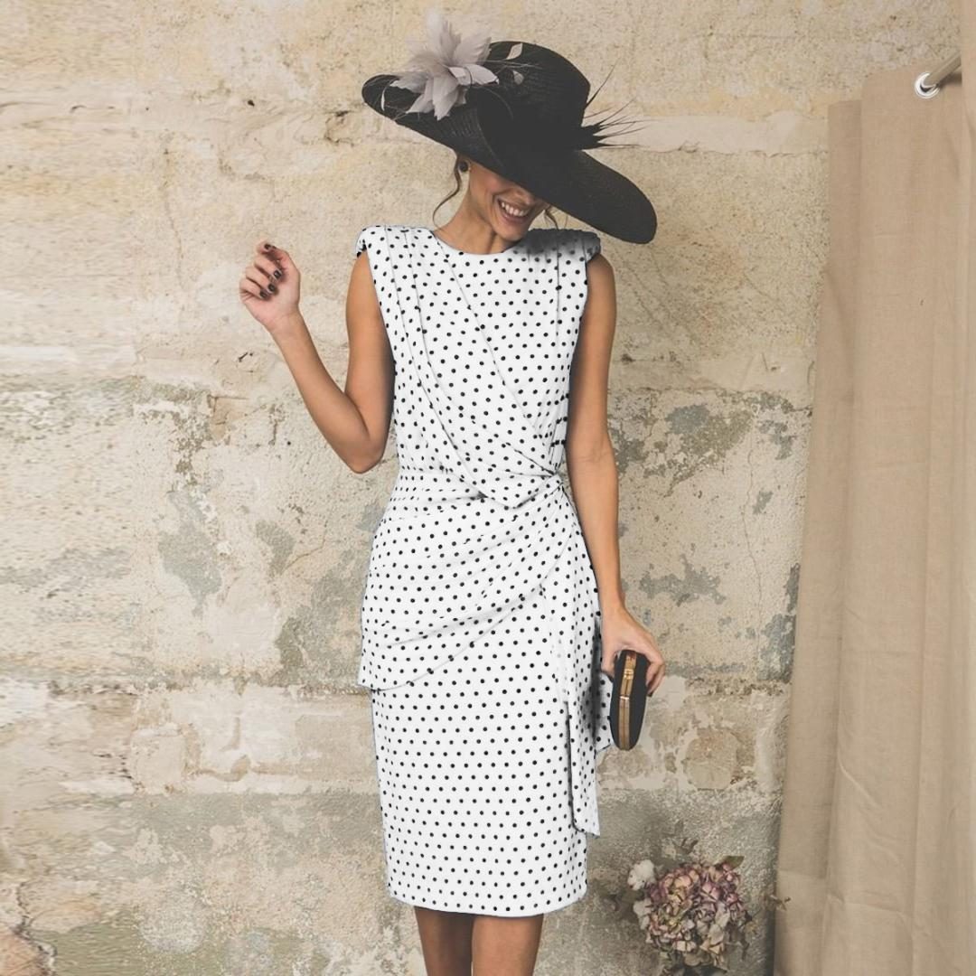 Vintage Bodycon Dress Women Party Polka Dot Tight Ruched Elegant Ladies 2019 Summer Midi Dresses