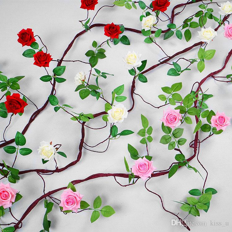 Artificial Rose Flower Fake Hanging Decorative Roses Vine Plants Leaves Artificial Garland Flowers Wedding Wall Decoration