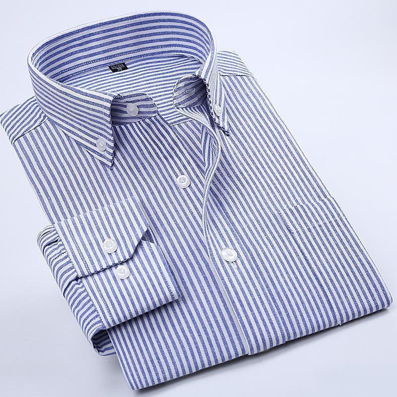 327ae17f4 2019 Nice High Quality Oxford Striped Men Dress Shirt Long Sleeve Button  Turn Down Collar Regular Tailoring Male Plaid Casual Shirts From Derrick83,  ...