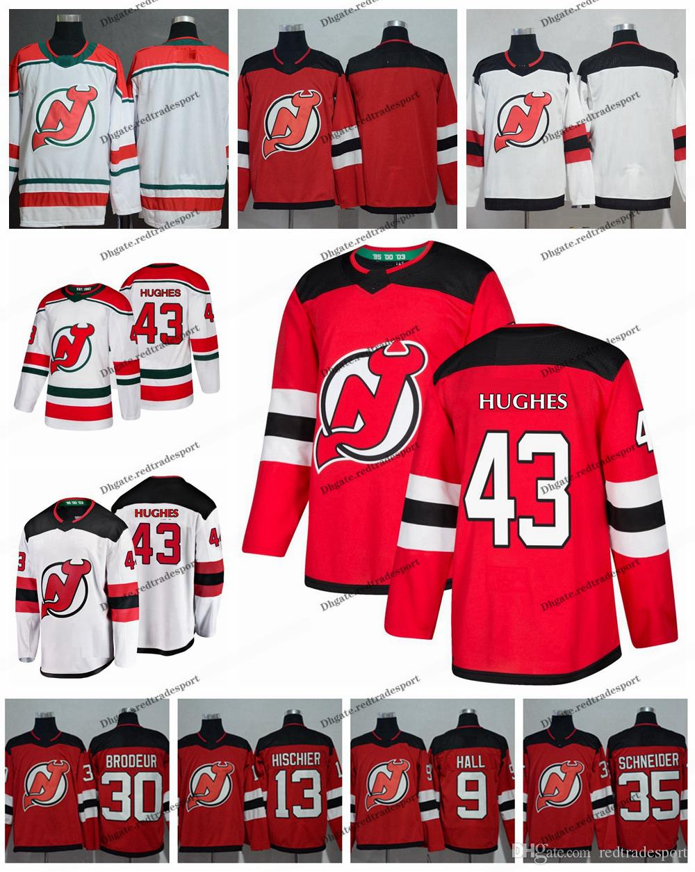 2019 New Jersey Devils First Draft 43 Jack Hughes 9 Taylor Hall 30 Martin  Brodeur 35 Cory Schneider 13 Nico Hischier Hockey Jerseys A Patch