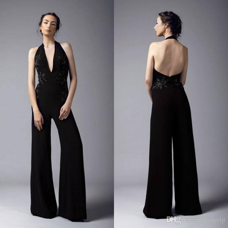 2dfe7d58b57 2019 Halter Black Jumpsuit Sexy Backless Embroidery Floor Length Prom Dress  Satin Pants Guest Dress Plus Size Evening Gowns Cocktail Party Cheapest Prom  ...