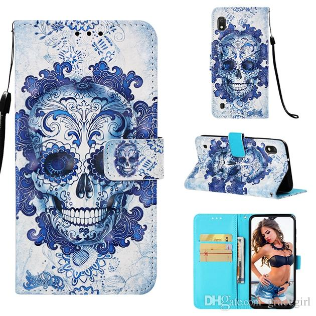 3D Owl Skull Leather Case For Samsung Galaxy M10 M20 A10 A20 A30 A40 A70 A50 Huawei Y6 2019 LG G8 ThinQ V50 Redmi NOTE7 Unicorn Cover 10pcs