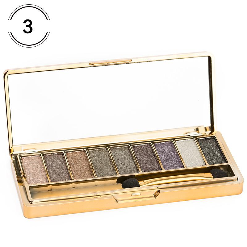 Factory DHL Free Gold Eyeshadow 9 Colors Glitter Makeup Pallete Matte Eye Shadow Palette Best Shimmer Shine Making Up Beauty Eyeshadows Tray