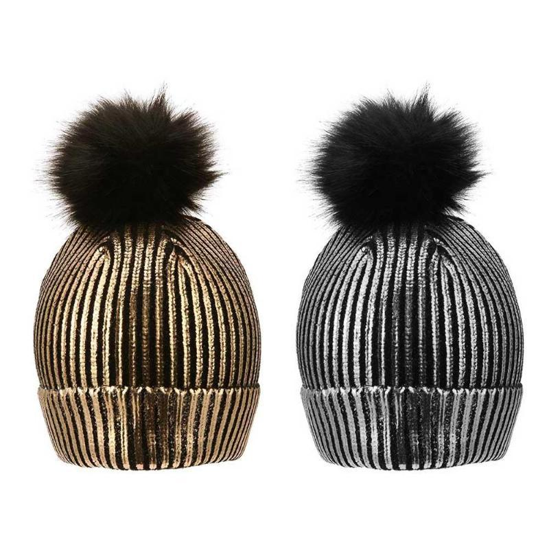 581e21efee91f 2019 Winter Sparkly Bronzing Color Hats For Women Girls Gold Silver Pompon  Caps Hat For Female Winter Knitting Warm Hairball Hat From Kupaoliu