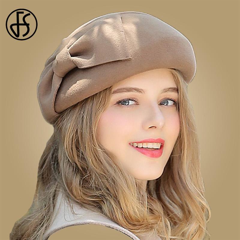 Compre FS Otoño Invierno Mujer Lana Sombreros Bowknot Fieltro Francés  Boinas Gorras Vintage Elegante Boinas Sombrero Fortnite Para Dama Marrón  Negro Gris A ... 89ee6bf19e2