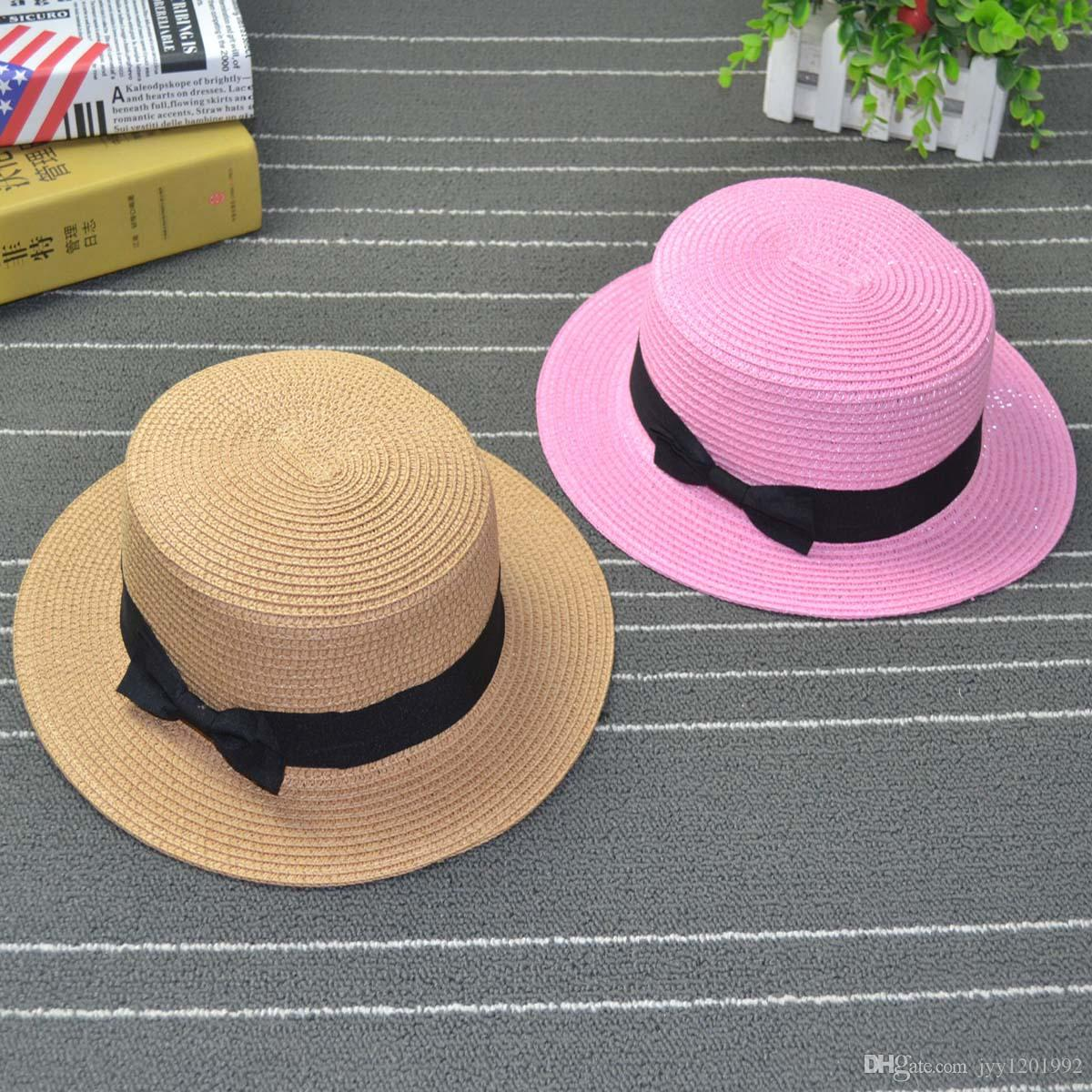 cb4ea5d93d67a Fashion Parent Child Sun Hat Cute Children Sun Hats Bow Hand Made Women  Straw Cap Beach Big Brim Hat Casual Glris Summer Cap Fishing Hats Funny Hats  From ...