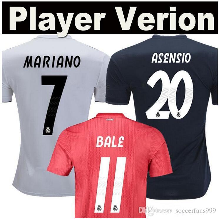 a0ed9e89c03 2018 2019 Player Version Jerseys Real Madrid Soccer 18 19 BALE ...