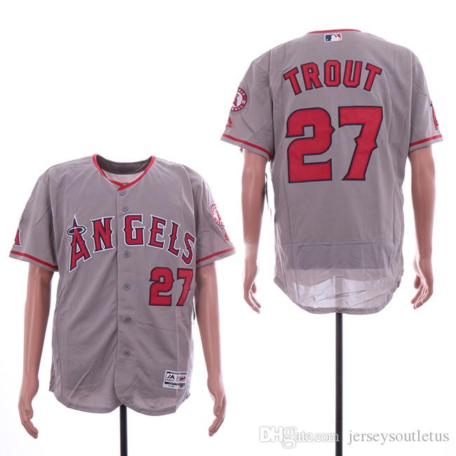 591e31a0f7e 2019 Los Angeles Mens Angels  27 Trout Gray Elite Jerseys In Stock Top  Quality From Jerseys4us