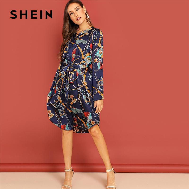 04f2d845ae1faf SHEIN Multicolor Mixed Print Curved Hem Belted Stand Collar Knee Length  Shirt Dress Women Autumn Elegant Casual Dresses Women Dress Black Party  Dresses From ...