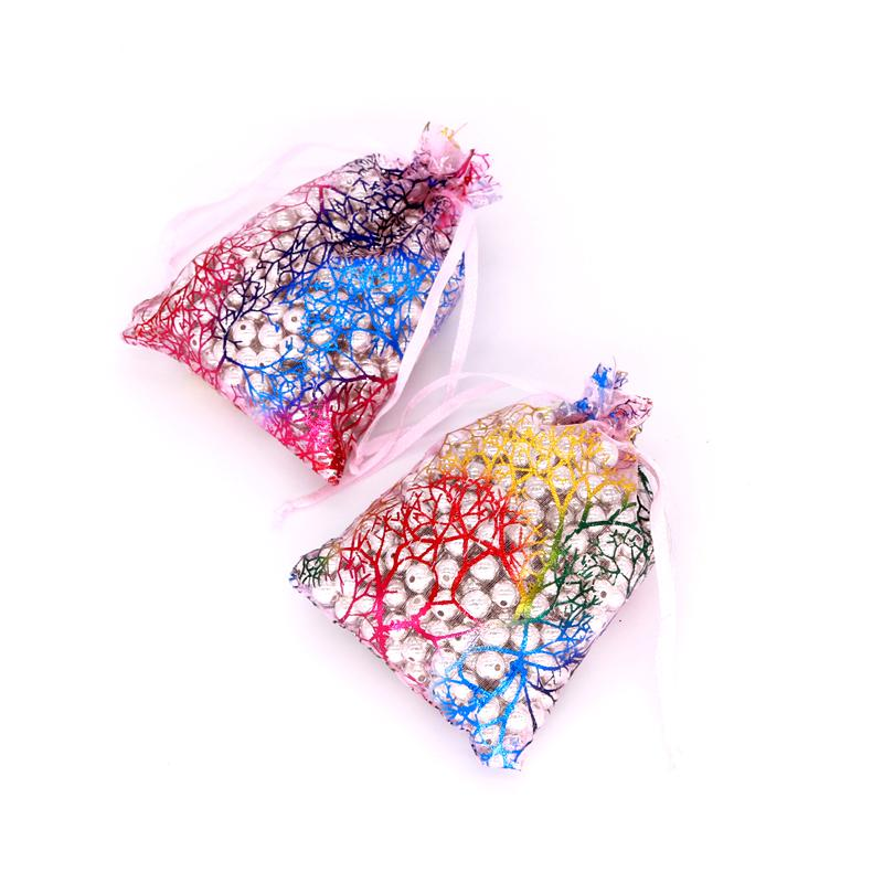 9x12cm 10x14cm Coralline Jewelry Packaging Drawable Organza Bags Gift Bags & Pouches Jewelry Packing Bags Pink Purple