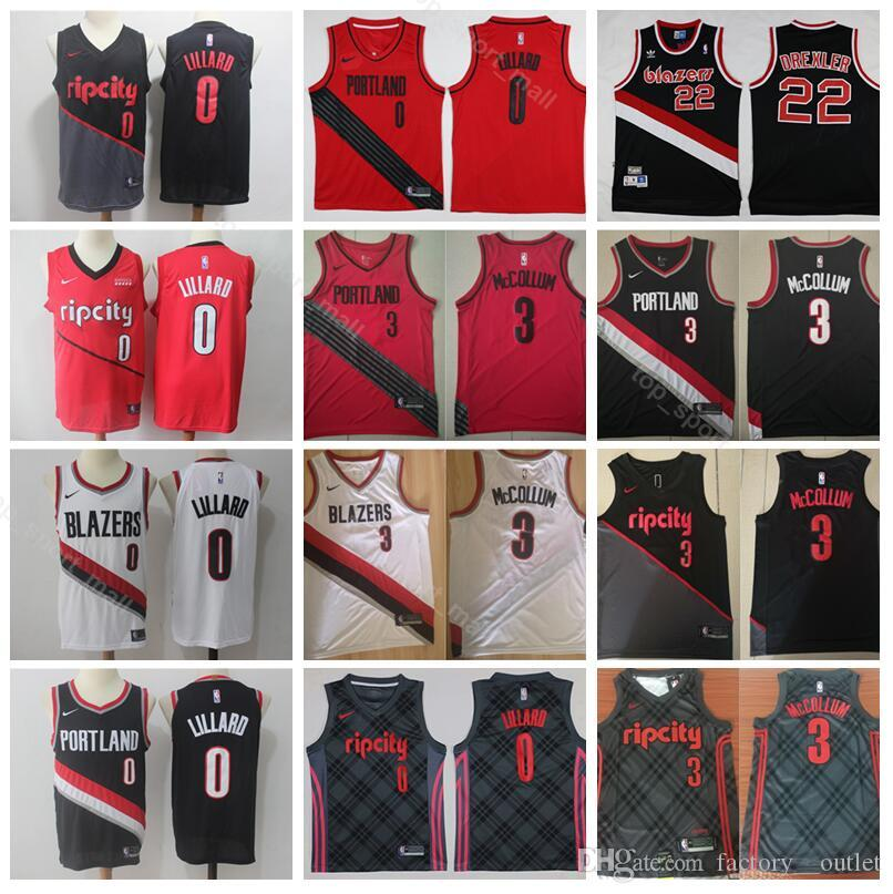 2019 2019 City Earned Edition Damian 0 Lillard Jersey Portland Trail  Basketball CJ 3 McCollum 22 Clyde Drexler Ripcity Rip Red White Man From  Vip sport 90df7cb70