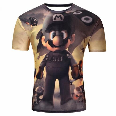 Fashion Funny Classic Cartoon Game Super Mario Bros Chopper Women/Men New Summer Unisex 3D Print Crewneck Casual T Shirt Tops Q220